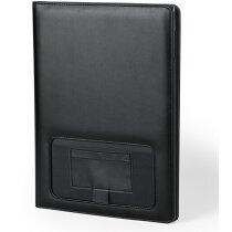 Carpeta de polipiel con bloc y bolsillos negra