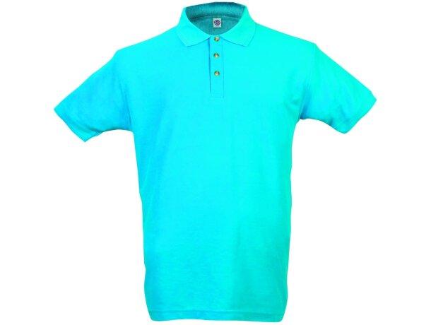 Polo manga corta tejido mixto de hombre 220 gr personalizado azul claro