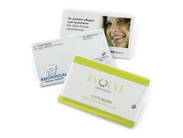 Hilo dental de fabricación especial en tarjeta a todo color