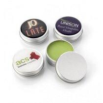 Bálsamo para los labios en caja de metal con tapón de rosca personalizado