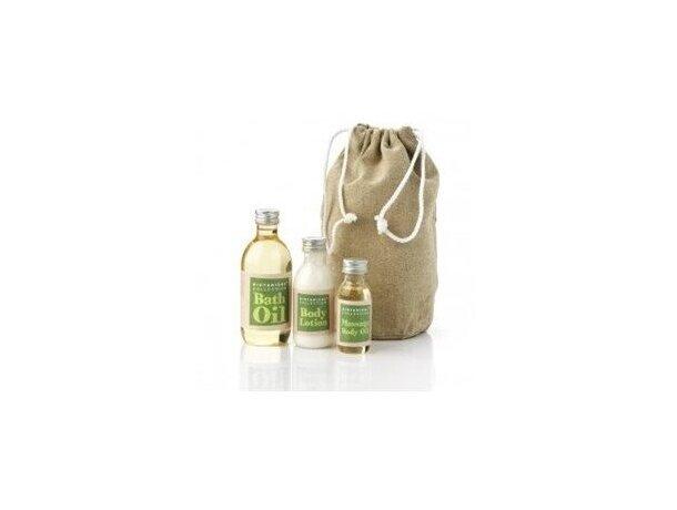Set de baño natural en bolsa de cáñamo natural personalizado