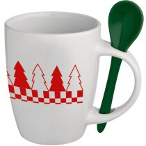 Taza Navidad con cuchara verde