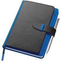 Bloc de notas A5 con 128 hojas y con porta documentos personalizada azul