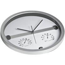 Reloj de pared 35 cm con higrómetro y termómetro personalizado plata
