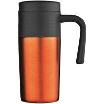 Taza térmica con tapa de colores naranja personalizado