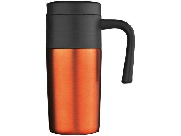 Taza térmica con tapa de colores naranja grabado