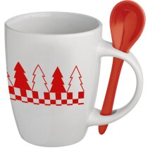 Taza Navidad con cuchara roja