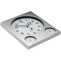Reloj de pared cuadrado con termómetro e higrómetro personalizado plata
