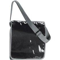 Bandolera de poliéster con bolsillo de plástico en la tapa personalizada negra