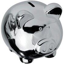 Hucha de cerdito pequeña personalizada plata