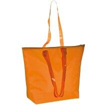 Bolsa playa con asas transparentes naranja