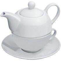 Tetera con taza personalizada blanca