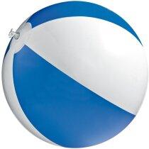 Pelota hinchable de playa bicolor 40 cm personalizada azul