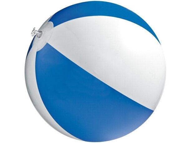 Pelota hinchable de playa bicolor 40 cm grabado azul
