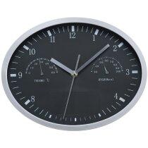 Reloj de pared redondo con termómetro e higrómetro desmontable para impresión barato negro