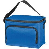 Nevera de poliéster con bolsillo delantero personalizada azul