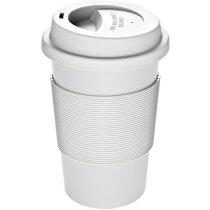 Vaso con tapa reciclado personalizado blanco