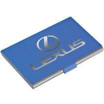 Tarjetero de metal sencillo con tapa engomada personalizado azul