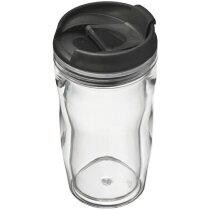Taza de Café Transparente de Doble Pared. personalizada negra