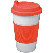 Taza de cerámica con tapas de colores grabada roja