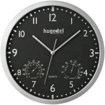 Reloj de pared redondo con termómetro e higrómetro en blanco barato negro