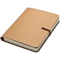 Cuaderno de nota con goma marrón y 120 hojas
