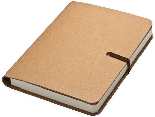 Cuaderno de nota con goma marrón y 120 hojas marron grabado