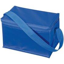 Nevera portátil con cierre de cremallera personalizada azul