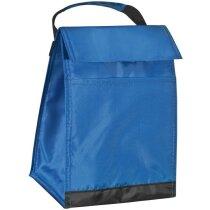 Nevera portátil de poliéster con bandolera personalizada azul
