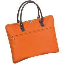 Maletín de nylon de colores con asas marrones personalizado naranja