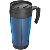 Vaso de plástico con asa 400 ml personalizado azul