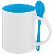 Taza de cerámica lisa con cuchara de color azul