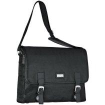 Bolsa con solapa para ordenador personalizada negra