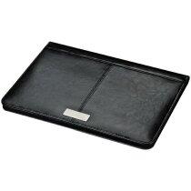 Carpeta Crisma A4 de Piel Negro Y Placa Metálica. personalizada negra