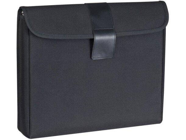 Estuche con tapa y forro plateado para ordenador negro