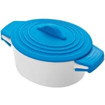 Pote de Porcelana con Tapa de Silicona Y Protecciones En Las Asas. azul