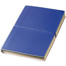 Cuaderno de notas con hojas de colores azul