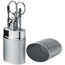 Set de manicura estuche de metal personalizado plata