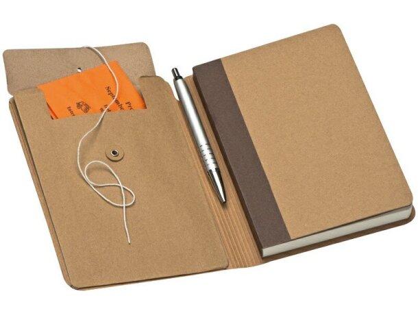 Cuaderno de Nota con Goma Marrón Y 120 Hojas grabada