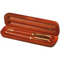 conjunto de bolígrafo con pluma en estuche de cerezo personalizado marron