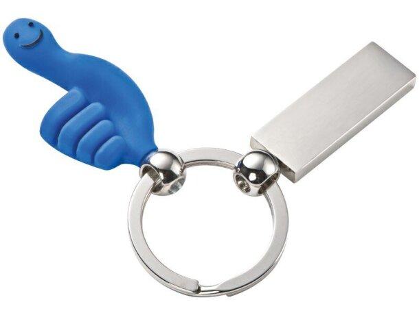 Llavero con mano de metal azul
