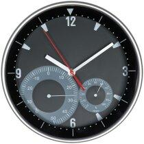Reloj de pared redondo con termómetro e higrómetro personalizado negro