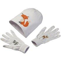 conjunto gorro y guantes personalizado blanco