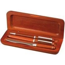 Set de bolígrafo con pluma y abrecartas personalizado marron