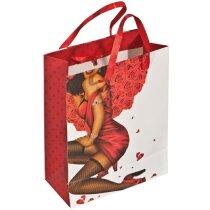 Bolsa de regalo con imagen de hombre y mujer roja