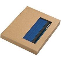 Set con cuadreno y bolígrafo con logo azul