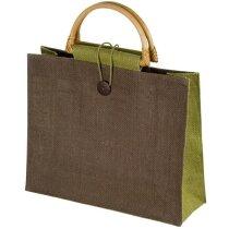 Bolsa de yute con asas de bambú verde