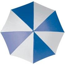 Paraguas automático bicolor mango recto con logo azul