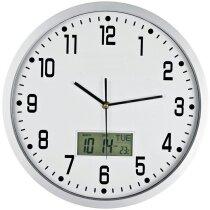 Reloj de pared analógico con fecha y temperatura personalizado blanco