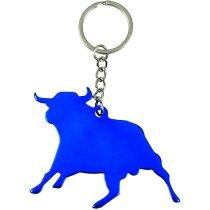 Llavero con forma de toro metálico azul